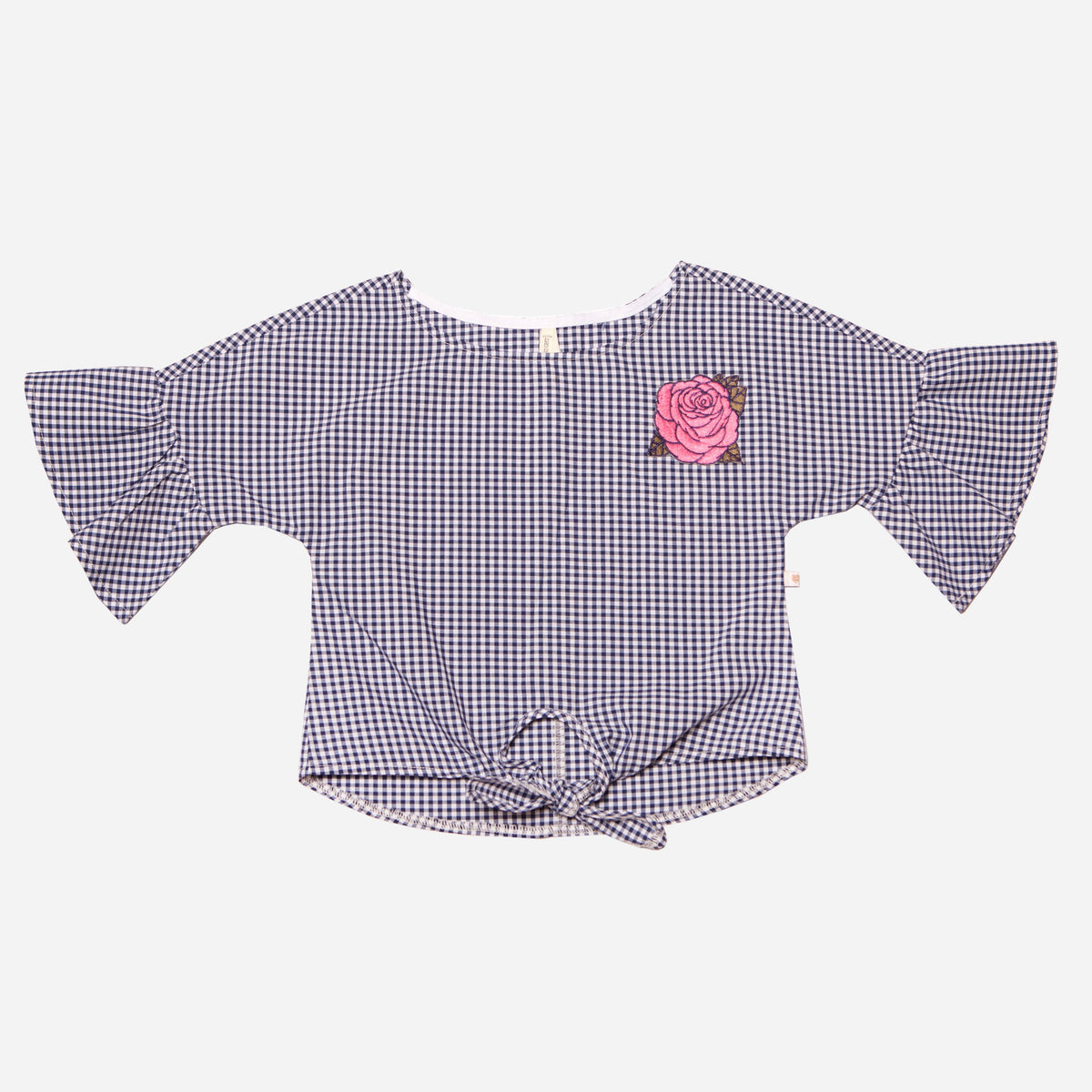 Gingham Tie Front Top with Rose Embroidery