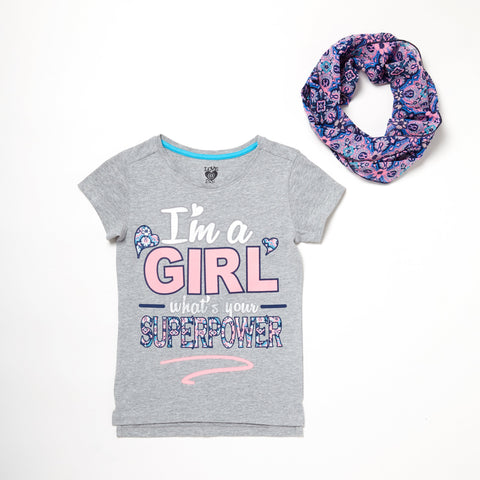 Girl Superhero Tee And Scarf