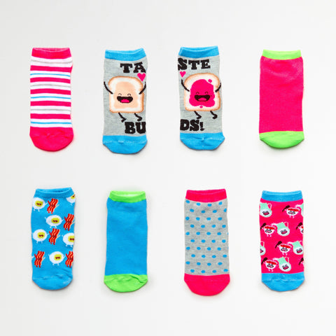 Girls' PB & J Best Buds 7-Pack Low Cut Socks (Size 6-8.5)