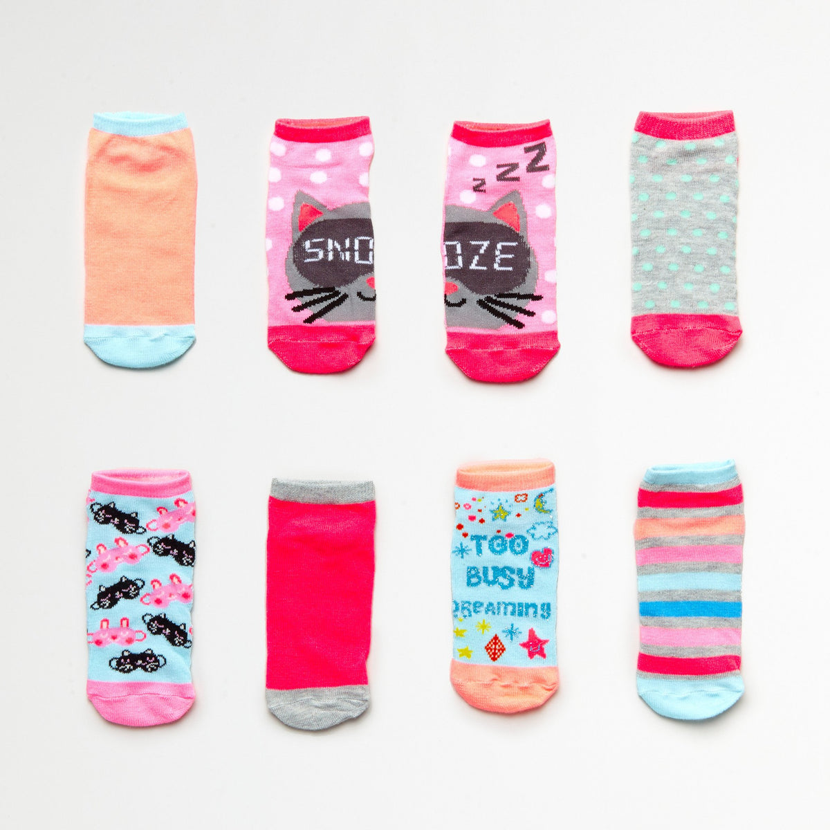 Girls' Snoozing Cat 7-Pack Low Cut Socks (Size 6-8.5)