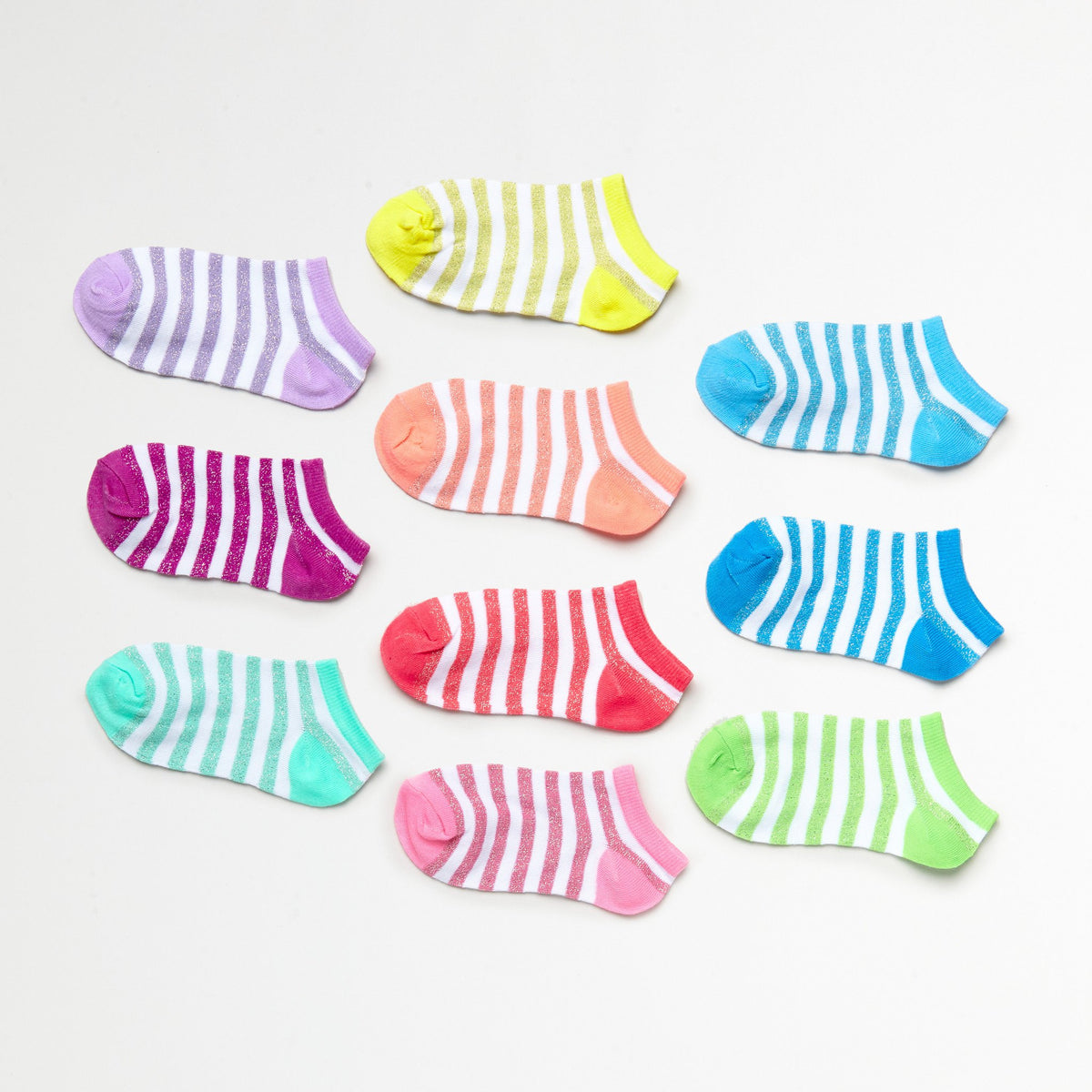 Girls' Sparkling Metallic Striped 10-Pack Low Cut Socks (Size 6-8.5)