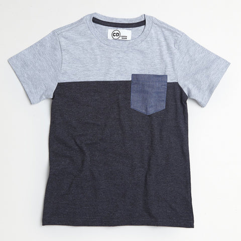 Gray Chambray Pocket Tee