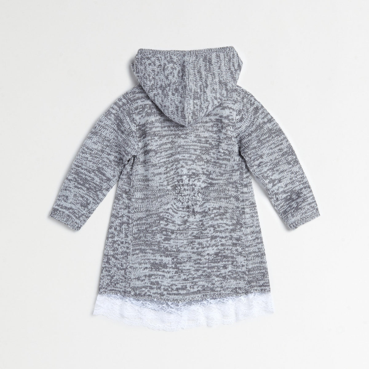 Gray Lace Flyaway Sweater Coat