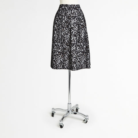 Gray Leopard Midi Skirt
