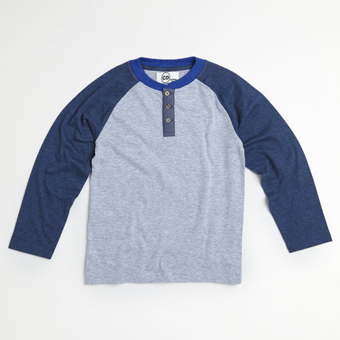 Gray Raglan Placket Henley