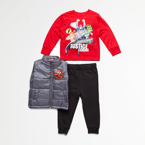 Justice League Puff Vest, Tee & Jogger Set