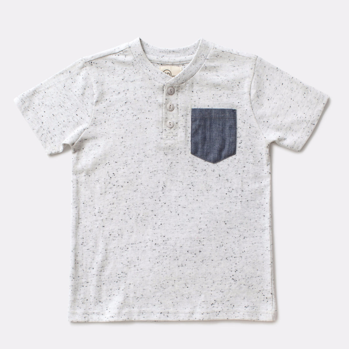 Light Gray Henley with Chambray Pocket