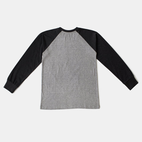 Light Gray/Black Baseball Style Raglan Long Sleeve Tee