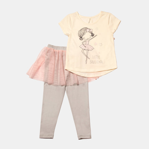 Little Ballerina Short Sleeve Tee and Glitter Tulle Skirted Legging Set