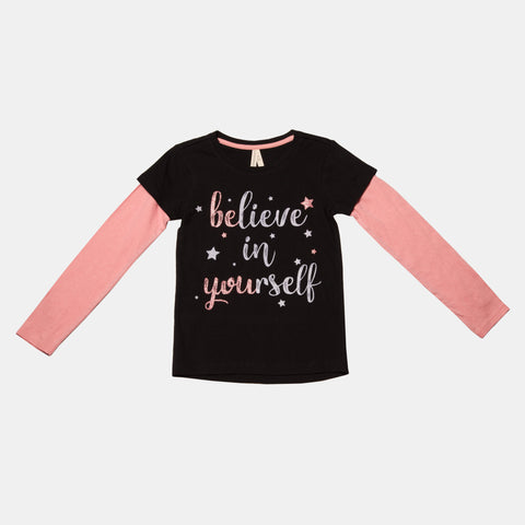 Long Sleeve 'Believe in Yourself' Graphic Tee with Infinity Scarf