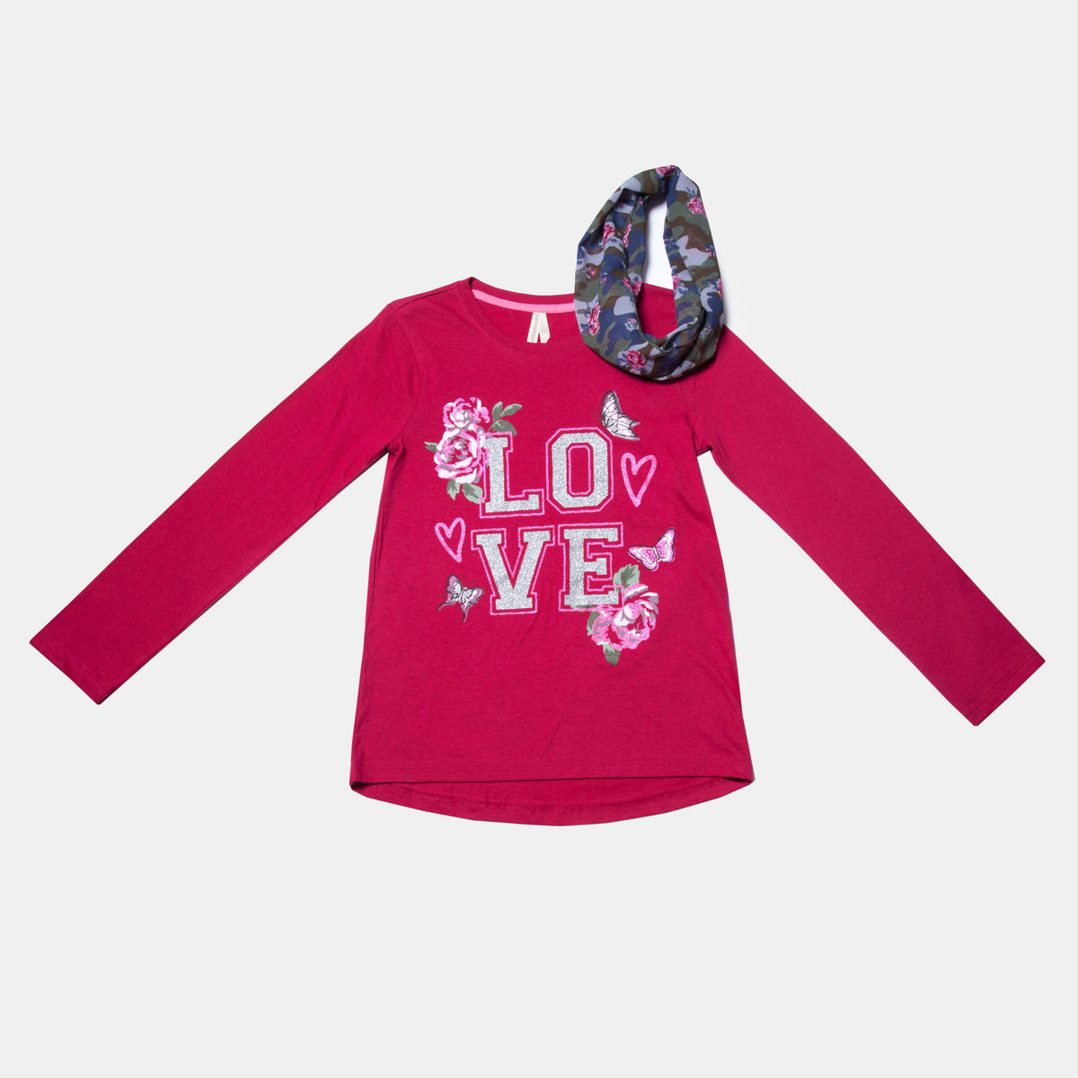 Long Sleeve 'Love' Graphic Tee with Infinity Scarf