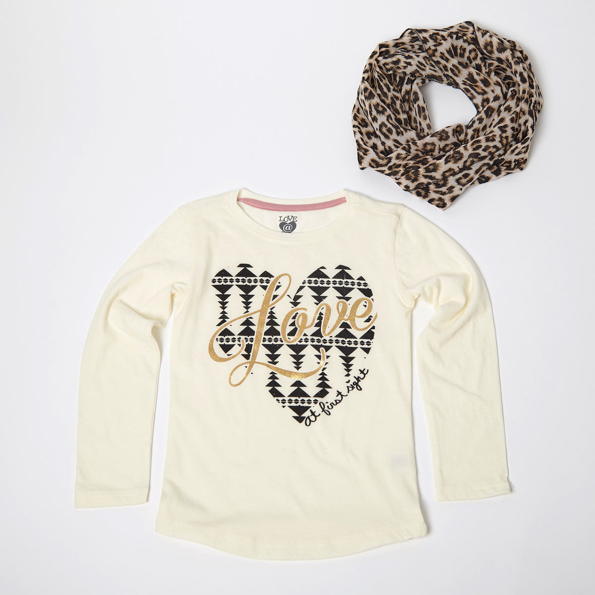 Love At First Sight Long Sleeve Tee With Scarf