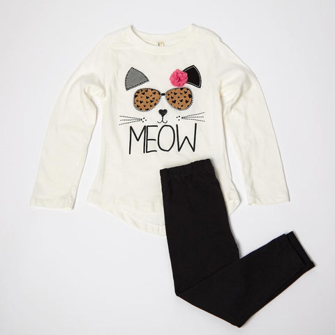 Meow Long Sleeve Tee and Legging Set