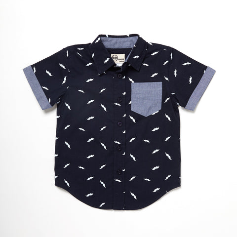 Mustache Print Short Sleeve Button Down Chambray Trim