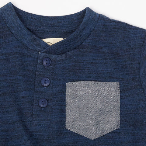 Navy Henley with Chambray Pocket