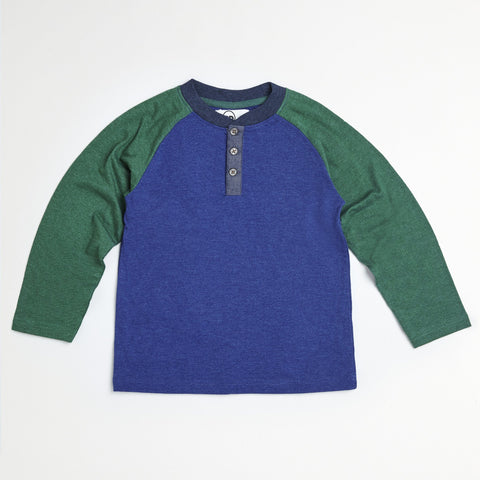 Navy Raglan Placket Henley