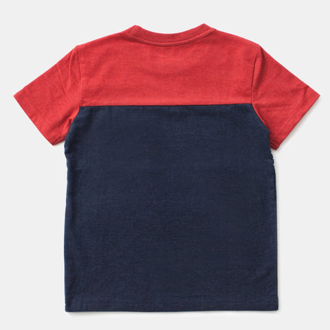 Navy/Red Crewneck Ombre Tee