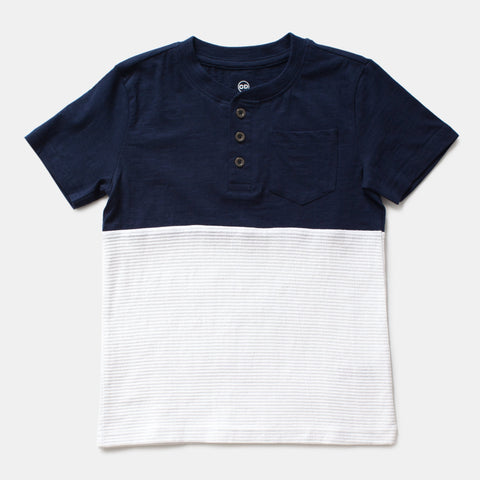 Navy/White Textured Two-Tone Henley