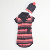 Neon Coral Stitched Sweater Dress & Hat