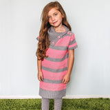 Neon Coral Striped Dress & Leggings