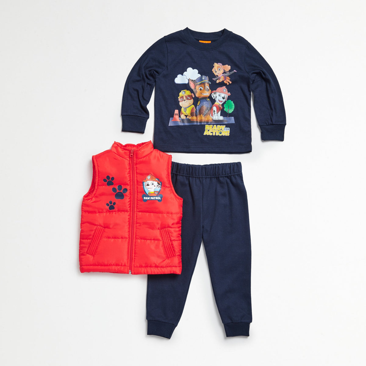Paw Patrol Red Puff Vest, Tee & Jogger Set
