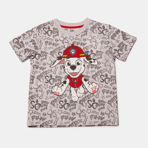 Paw Patrol Short Sleeve Marshall Gray Words Tee