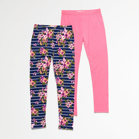 Pink and Floral Legging Set of 2