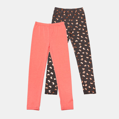 Pink Butterfly and Solid Legging Set of 2