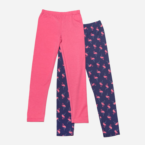 Pink Flamingo and Solid Legging Set of 2