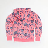 Pink Fuzzy Faux Fur Zip-Up Hoodie With Hearts