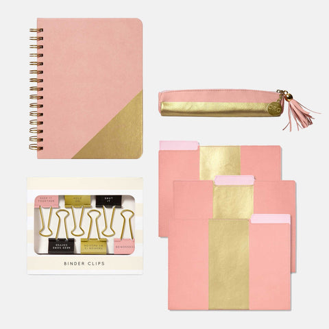 Pink Leatherette Stationery Set
