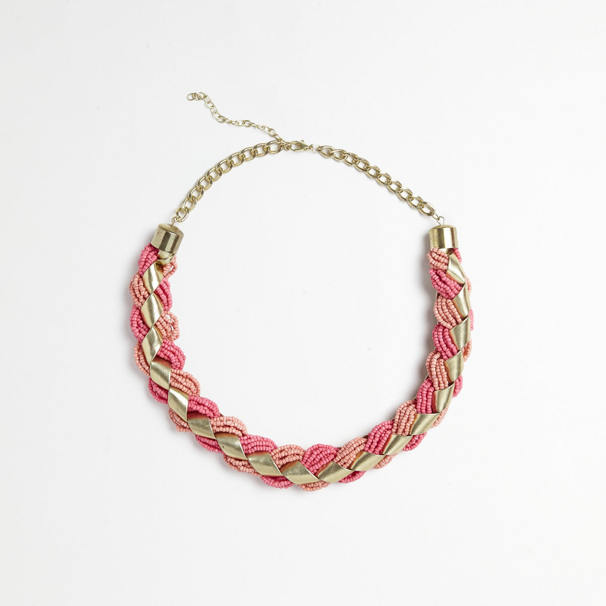 Pink/Gold Braided Necklace