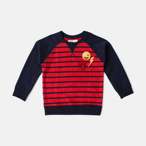 Red And Blue Striped Pullover With Patches