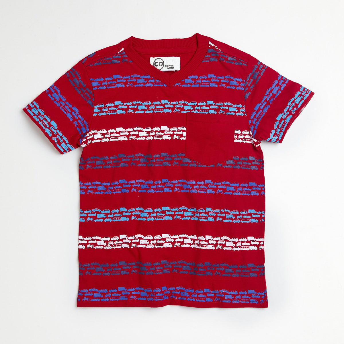 Red Cars Striped Tee