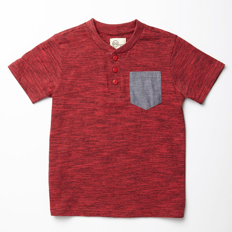 Red Henley with Chambray Pocket