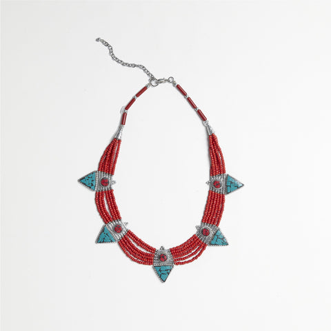 Red/Turquoise Bib Necklace