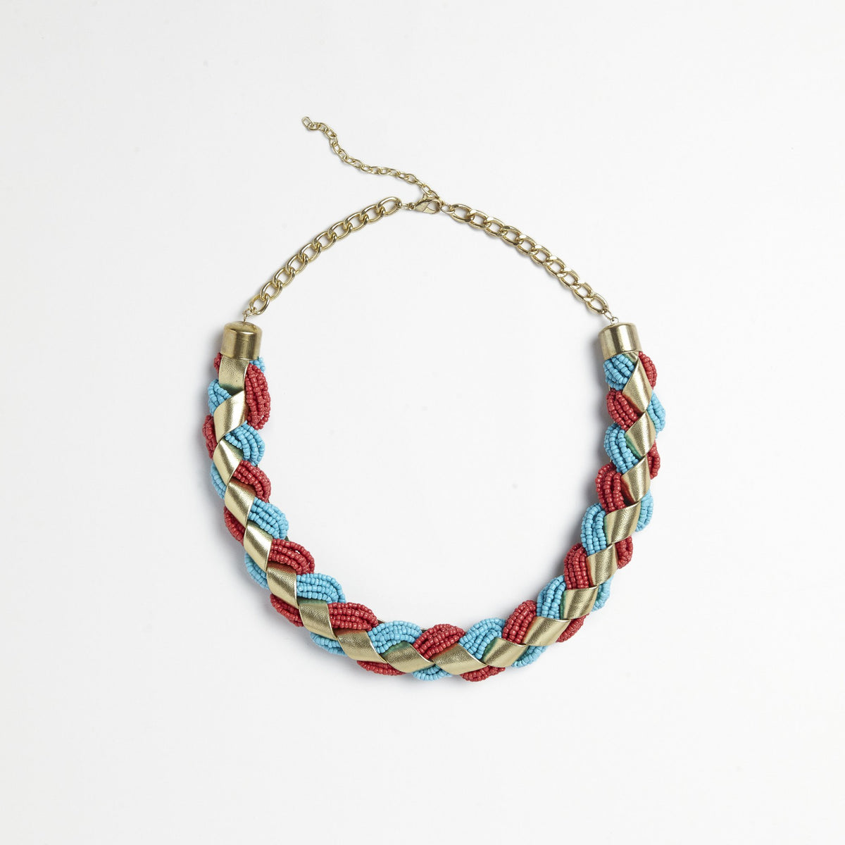 Red/Turquoise Braided Necklace
