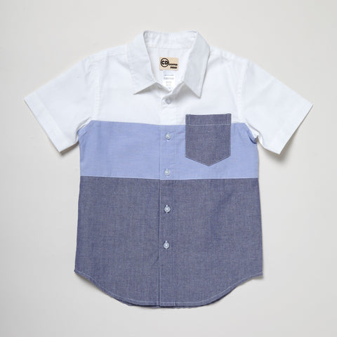 Short Sleeve Color-Blocked Blue Button Down