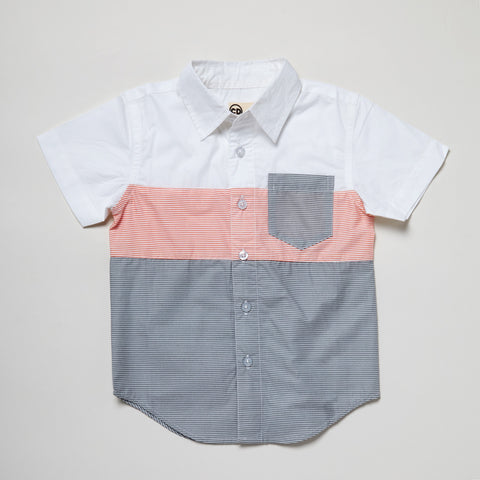 Short Sleeve Color-Blocked Blue + Red Button Down