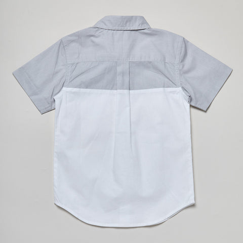 Short Sleeve White + Gray Pocket Button Down