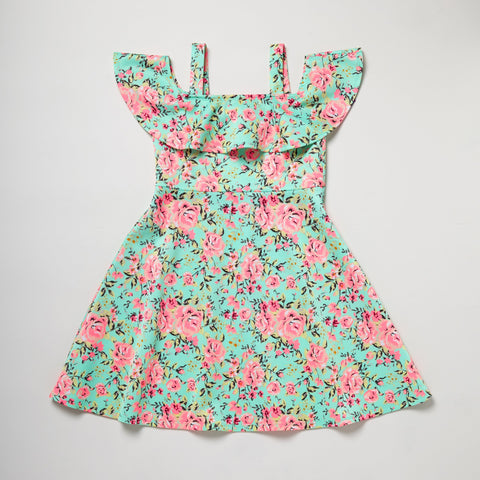 Skater Dress Green/Pink Flowers
