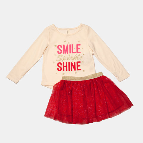 Smile Sparkle Shine Long Sleeve Tee and Tulle Skirt