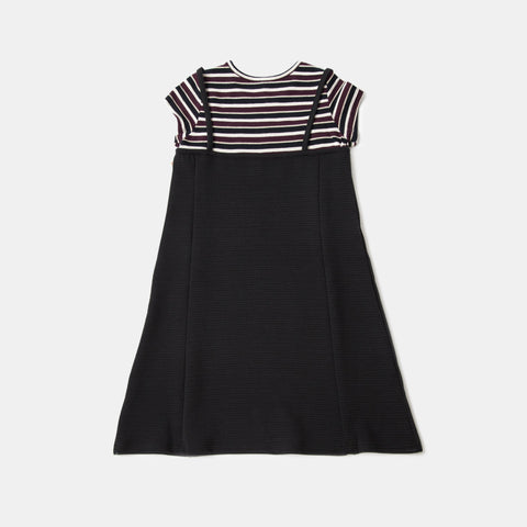 Spaghetti Strap Slip Dress with Striped Tee