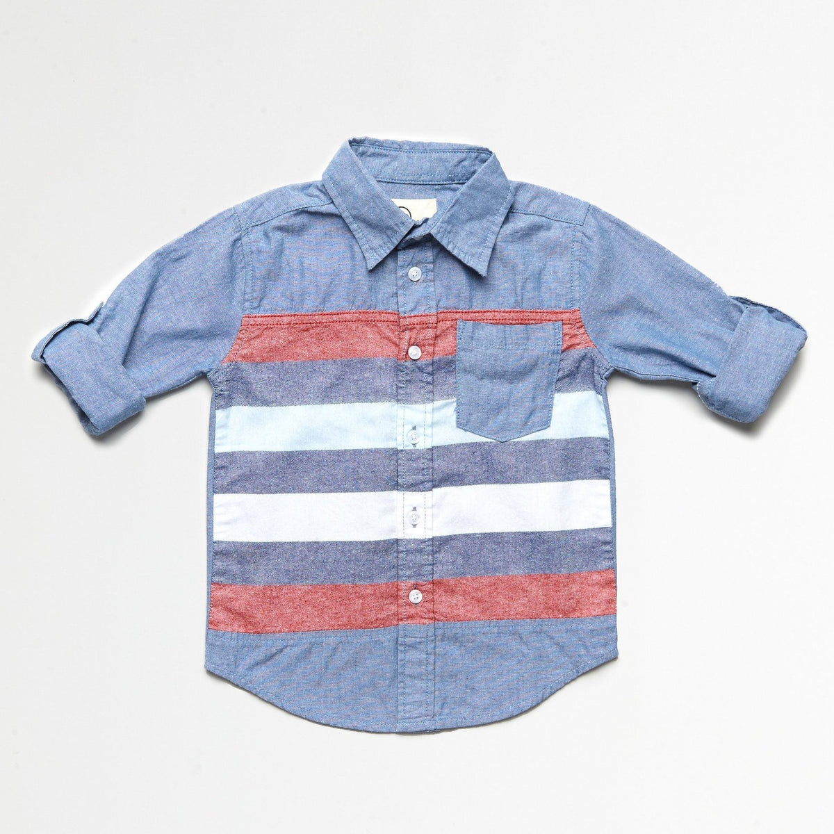 Striped Blue and Red Chambray Shirt