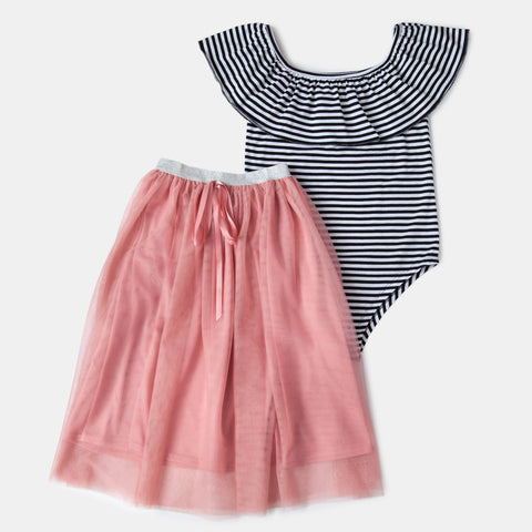 Striped Bodysuit with Tulle Tutu Skirt