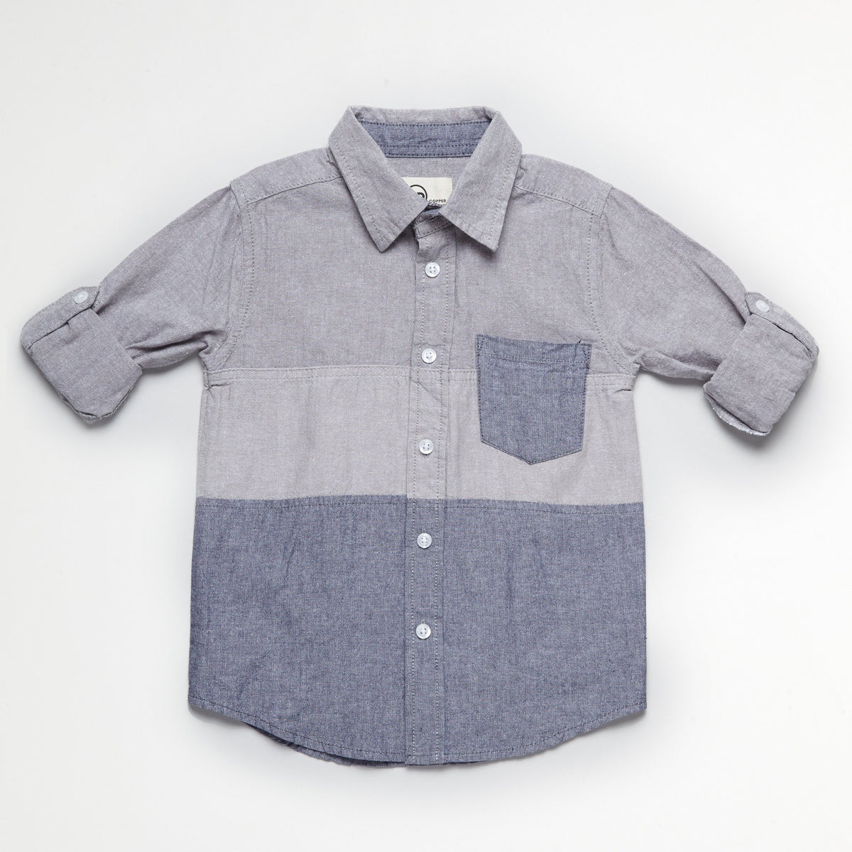 Striped Gray Chambray Work Shirt