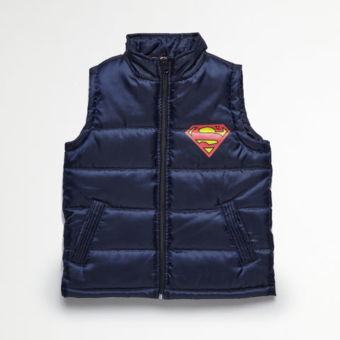 Superman Navy Puff Vest, Tee & Jogger Set