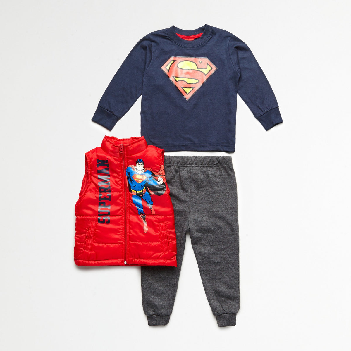 Superman Red Puff Vest, Tee & Jogger Set