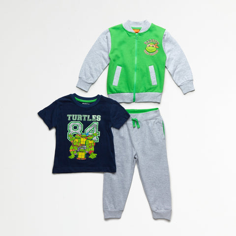 TMNT Green/Navy Jacket, Tee & Jogger Set