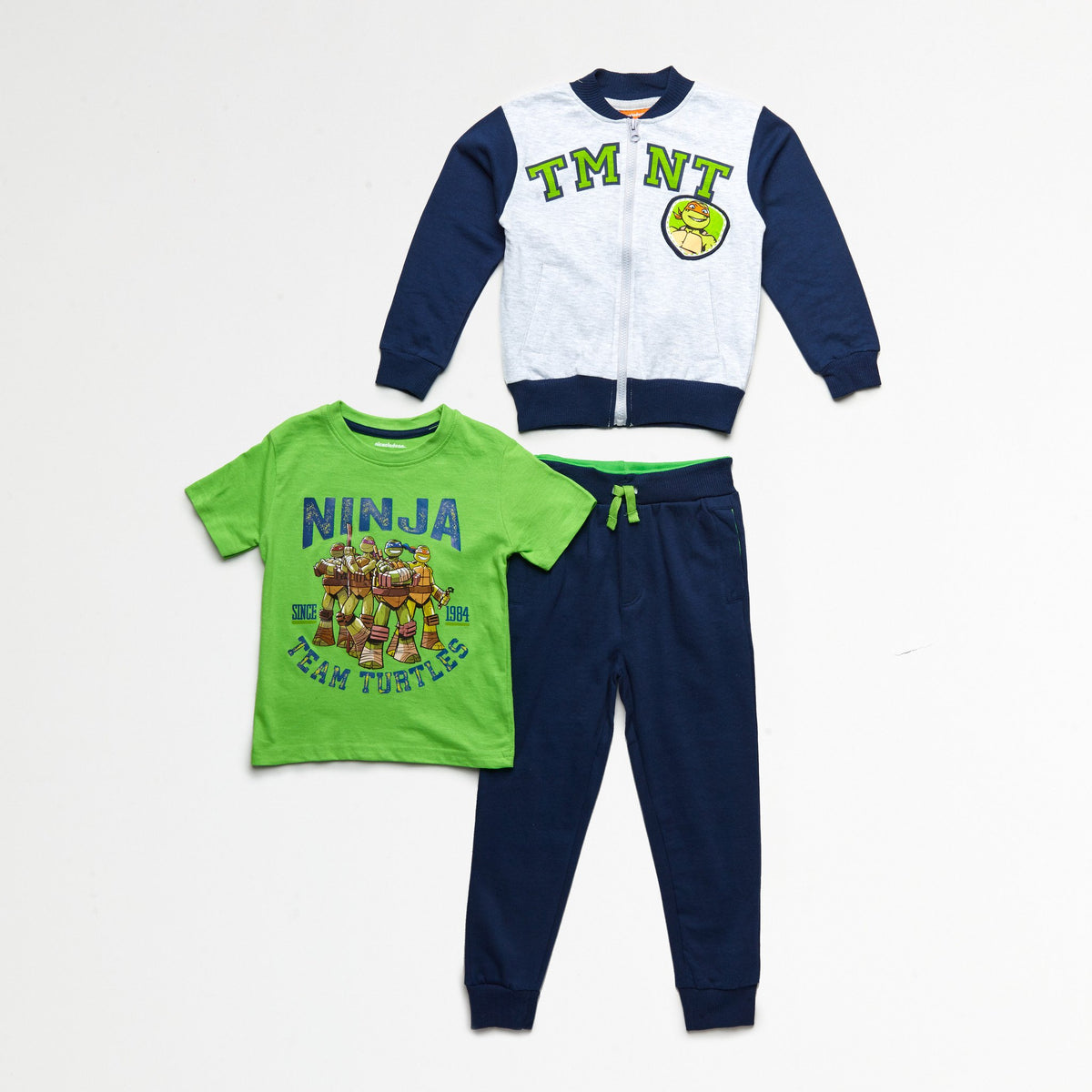 TMNT Team Turtles Blue/Green Jacket, Tee & Jogger Set